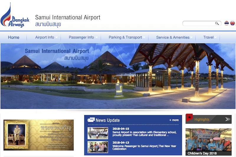 ลูกค้า รับทำเว็บไซต์ ออกแบบเว็บไซต์ : สนามบินสมุย - บริษัท การบินกรุงเทพ จำกัด (มหาชน)